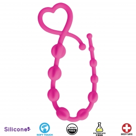 Hearts n Spurs Silicone Anal Beads- Pink