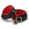Estrito couro Deluxe preta e vermelha algemas de bloqueio