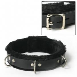 Stricte cuir fourrure étroites bordées de collier de verrouillage