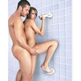 Sexo no chuveiro único bloqueio descanso do pé de sucção
