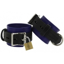 Strict Leather Blue and Black Deluxe Locking Cuffs