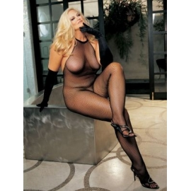 Plus Size Fishnet and Lace Halter-Top Body Stocking