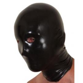 Capuz preto com olhos, boca e nariz buracos