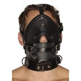 Bozal de Premium cuero estricta con los ojos vendados y las mordazas