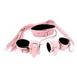 Conjunto de cuero estricto Bondage rosa