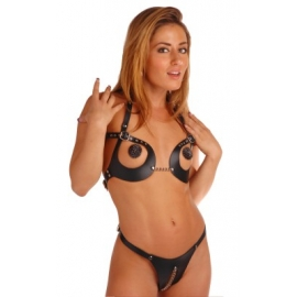 Domina Leather Bra and Panty Set
