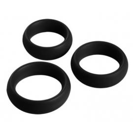 3 Pièces Silicone Cock Ring Set (Black)