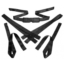 Bordeaux 5 Piece Satin Bondage Set (Black)