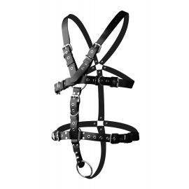 Strict Leather Body Harness with Cock Ring (Medium Large)