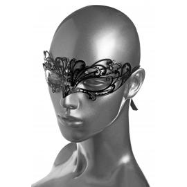 Masque Fetish métal noir avec cristaux