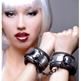 Platinum Bound Cuffed Embossed Metallic Wrist Cuffs